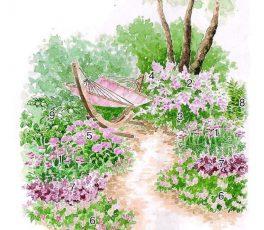 розовый цветник схема