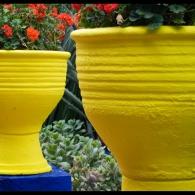 зонирование сада с помощью крупных цветочных контейнеров