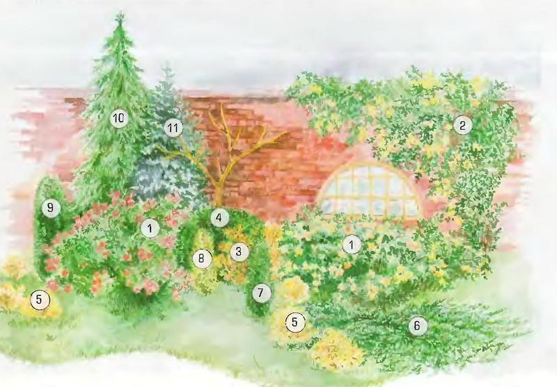 схема украшения садовой стены